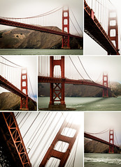Golden Gate Bridge (Dom Pilling) Tags: ocean sanfrancisco california bridge red sea summer orange usa mist colour water misty fog clouds america bay boat san francisco pacific foggy collection goldengatebridge montage spanning goldengatebay pillingphotography