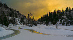 Deep Winter Forest (Tore Thiis Fjeld) Tags: winter sunset lake snow reflection tree ice nature lines oslo norway forest golden twilight day samsung nordmarka kalvsjøen nx210 pwwinter