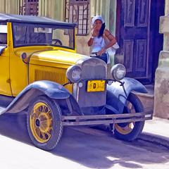 Waiting... (Artypixall) Tags: woman vintagecar havana cuba streetscene digitalpainting doorway lahabana