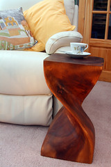 Day 364 - Table?  Sculpture?  Work of art?  You decide (Ben936) Tags: door wood sculpture table relax artwork furniture twist curve teacup shape armchair cushion woodgrain surin cupandsaucer occasionaltable