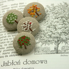 embroidered fabric covered buttons (Bela Stitches) Tags: tree crossstitch handmade linen embroidery fourseasons button embroidered appletree fabriccoveredbuttons