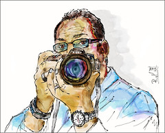 Nikon (rafaelmucha) Tags: camera portrait color art water digital pen ink sketch nikon fotograf drawing cam draw wacom kamera aquarell intuos spiegelreflex