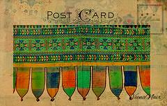 Vintage Postcard (Veena Nair Photography) Tags: india vintage cards postcard vintagepostcard layers toran macromondays texturedimage traditionaldoorhanging