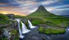 Kirkjufell. (Luke Sergent) Tags: adventure amazing attraction beautiful beautifull beauty bright cascade cloud cloudy country dramatic europe evening extreme fall flow golden grass green grundarfjordur hill holiday iceland icelandic island kirkjufell kirkjufellsfoss land landmark landscape light magical midnight midnightsun mount mountain mountains national natural nature outdoor outdoors peninsula river scene scenery scenic scenics sky snaefellsnes stream summer sun sunny sunrise sunset tourism travel vacation volcanic water waterfall weather west western