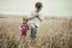 I'll follow you anywhere..... (markfly1) Tags: brother sister kids children corn field hampshire british summer following sibling pink cute happy nikon d750 50mm shallow depth soft focus dreamy