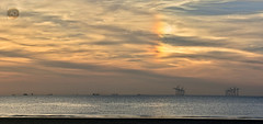 Out with the dog (alun.disley@ntlworld.com) Tags: sundog weatherwirral wallasey uk seascape landscape beach sunset clouds windfarm natureindustrialseascape ships shipping panorama portsandharbours