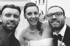 (Me), Anja & Aaron ((((roy)))) Tags: weeding bride groom outside life 2016 blackandwhite love vsco selfie weddingday friends happy couple smiles beards