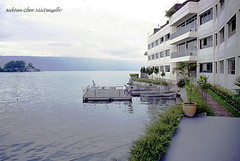 Hotel by Lake Toba, Medan, Sumatra, Indonesia (Welcome fellow photographers) Tags: laketoba volcaniclake medan sumatra indonesia minoltax700 colorslides scanned restored