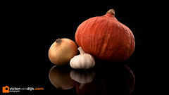 Onion, Pumpkin and Garlic (Victor van Dijk (Thanks for 3.8M views!)) Tags: onion pumpkin garlic stillife elinchrom quadra hybrid darkfield black orange reflection three 3 trio vegetables food fav fave faved favorite