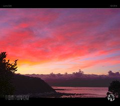 Red Sky In The Morning XXIV (tomraven) Tags: dawn morning redsky red blue purple tomraven sunrise sky clouds sun coast coastal aravenimage q32016 lumix gx8