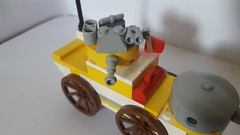 Yellow Armoured Car (Annoyed Zebra) Tags: lego tweepunk therealmofthewind inside indoors armour car armouredcar steampunk dieselpunk
