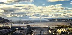 """White swan"" bridge and Muroran bay (Bareru) Tags: sky sea bay sunset light clouds bridge japan port hokkaido muroran"
