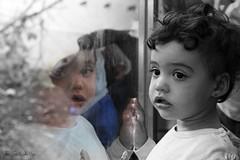 Reflejada en el cristal (jcmejia_acera) Tags: reflejo reflex nia retrato portrait baby cristal mirada jaula cabrceno parque park