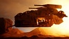 """General Kenobi, don't land, the zone is hot!"" (Blockaderunner) Tags: sunset star sand lego battle troopers second wars cody clone obiwan kenobi laat geonosis laati cammander"