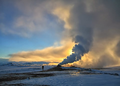 Fire and Ice in Iceland (` Toshio ') Tags: sunset sky man nature person iceland europe steam geothermal mudpots toshio lakemyvatn fumarole geothermalarea northiceland námafjallhverir steamspring