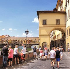 Florence tourist walk along the river to Ponte Vecchio (Bn) Tags: park santa old city travel bridge trees summer vacation italy panorama holiday money hot streets tower art history weather gardens museum del river magazine gold florence italian topf50 europe italia gallery view bell walk maria churches touris