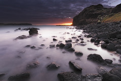 Cape Schanck Glow (stevoarnold) Tags: longexposure red water sunrise rocks glow purple australia victoria volcanic morningtonpeninsula blackrocks capeschanck