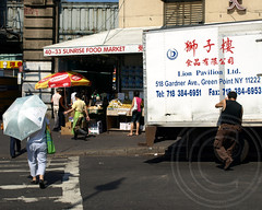 Food Market, Flushing Chinatown, New York City (jag9889) Tags: china county street city nyc people food ny newyork fruits vegetables sunrise shopping asian store mainstreet downtown chinatown market scene queens pedestrians stores groceries stands 2010 flushing foodmarket y2010 jag9889 41avenue