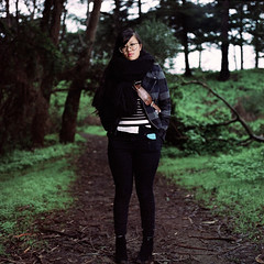 vivian fu (mikeybarattaPHOTOGRAPHIC) Tags: sanfrancisco california park portrait woman color forest umbrella golden gate december minolta kodak flash mikey hasselblad 400 vivian wireless fu portra ultra bounce fillflash strobe 2012 fill 500cm baratta mikeybarattacom 5400si