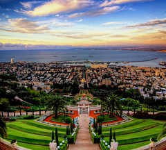 The City Beneath (DPGold Photos) Tags: travel sunset sun water landscape cityscape bahai haifa hebrew hdr tonemapped dpgoldphotos