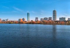 Boston Back Bay Skyline (brooksbos) Tags: city light sky urban panorama tower fall water boston skyline skyscraper river geotagged ma photography bay photo back day skyscrapers charlesriver towers newengland charles olympus foliage clear hancock bostonma tress prudential masschusetts lurvely 02116 thatsboston xz1 brooksbos