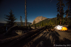 Light Up Tent and Stars over Half Dome Campsite during Full Moon, Yosemite (Jonny Fay) Tags: california park ca trees light camp sky moon up night clouds forest painting stars landscape star site nikon hiking trails tent hike trail cables national yosemite dome half halfdome vista moonlight 36 f4 campsite d800 1635 megapixels 1635mm bigagnes 36mp ul3 subdome nikond800 copperspur