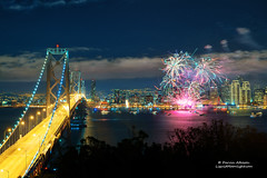 Happy New Year 2013! - San Francisco Fireworks Display (Darvin Atkeson) Tags: sanfrancisco eve skyline night island happy bay cityscape treasure suspension fireworks celebration event goldengate midnight baybridge newyears yerbabuena citybythebay darvin 2013 atkeson darv liquidmoonlightcom lynneal