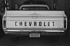 Chevrolet (Derek Drocy) Tags: usa white black chevrolet america canon rebel 1971 chevy canonrebel inline six 250 xsi fleetside c10 straightsix chevyc10 shortbed