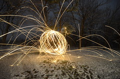 a belated Merry Christmas to all :) (Christopher Wallace) Tags: christmas trees snow lightpainting yellow night garden dark timelapse newjersey wire nikon state farm steel sphere spinning jersey sparks christmaseve merrychristmas vr stanton christmasmorning thegardenstate steelwool hunterdoncounty readington wirewool hunterdon 18200mm d7000 nikond7000