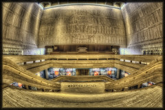 LBJ Presidential Archives (Oil Painting) (Edward Nygma Photography) Tags: blue light red white house black art history glass museum architecture stairs photoshop austin photography lights star photo mural stair texas unitedstates state photos pages library president politics country whitehouse johnson archive presidential collection edward capitol research photographs national photograph collections document archives historical archival photoart lonestar documents politic lyndon baines lbj atx nygma