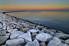 Rocks and Dusk (Tom Haymes) Tags: sunset rocks dusk maryland annapolis chesapeakebay annapolismaryland sandypointstatepark sandypointstateparkmaryland
