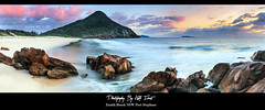 Playing with Pastels (Kiall Frost) Tags: ocean mountain water sunrise photo sand nikon rocks pano australia panoramic nsw portstephens headland zenithbeach tomaree kiallfrost