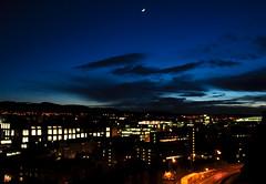 The Gloaming (14/365) (Patrick_Down) Tags: uk sky moon castle night evening scotland edinburgh edinburghcastle esplanade day14 pentlandhills day14365 3652013 365the2013edition 14jan13
