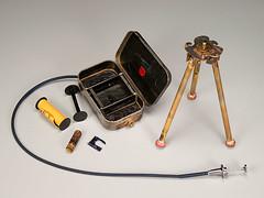 Zymo 127 tripod and camera parts (Judith Hoffman) Tags: film 127 format brass altoidstin handmadepinholecamera zymo127 judithhoffman