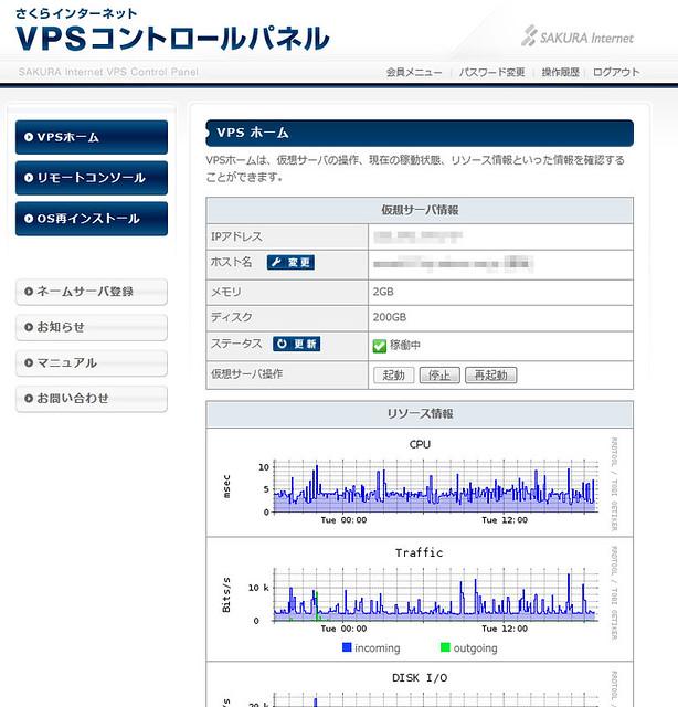 さくらのVPSコントロールパネル