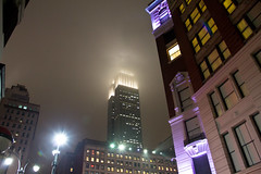 Another Foggy Night in New York City (Roblawol) Tags: nyc newyorkcity winter sky ny newyork rain fog skyline night evening purple nightshot manhattan foggy esb empirestatebuilding