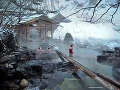 Takaragawa Onsen Rotenburo   (JohnCramerPhotography) Tags: winter people snow water japan stone river japanese bath asia candid towel openairbath onsen bathing hotspring spa minakami hotsprings gunma stonelantern  takaragawa   rotenburo konyoku   osenkaku  mixedbath