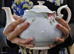 Tea Party. (Gillian Floyd Photography) Tags: blue roses party tea nails teapot matching