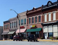 Businesses across from the courthouse, Pawnee City, Nebraska (Blake Gumprecht) Tags: pawneecity nebraska businesses courthousesquare hardwarestore subway restaurant