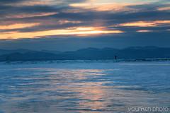 Lake Champlain (younkenphoto) Tags: lake frozen ice sunset dusk mountain range vermont champlain