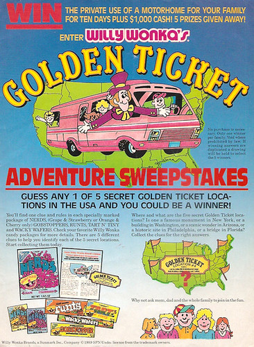 1990 Sunmark Willy Wonka Candy Magazine Ad