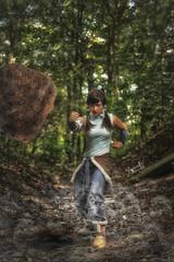"Stunt-Sheep Cosplay as Korra from ""Avatar: The Legend of Korra"", by SpirosK photography : Earth-bending (SpirosK photography) Tags: stuntsheepcosplay bending avatar legendofkorra korra cosplay costumeplay fotocon2016 fotocon spiroskphotography rock earth earthbending portrait fantasy comics"