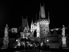 Praha: Mala strana (romanboed) Tags: charles bridge karluv most spires night black white monochrome bw lanterns glowing leica m 240 summilux 50 czech europe cesko czechia prague praha prag praag praga mala strana lesser quarter summer city cityscape street travel tourism