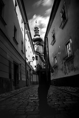 My artistic selfie :D (PatPola27) Tags: blackandwhite monochrome bnw street long expousure people bw nikkor nikon city bratislava selfie pavement darkness black slovakia photography