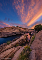 Sunset Wedge (TreeRose Photography) Tags: sunset rocks textures shapes clouds colors granitedells willowlake prescott arizona evening orange blue pink yellow plants blooms trees flowers grass foliage water lake reflections outcropping