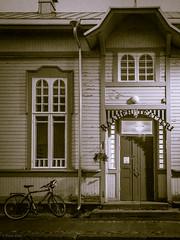 Raahe's theater on September evening (LuonnonKuvaaja) Tags: paranormal ghost kummitus raahe theatre finland autumn evening teatteri pekan pimiät september building old house bike windows door city town black white bw theater