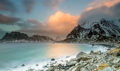 """Lofoten2016-17 (Federico """"Jger"""" Serafini) Tags: norvegia lofoten ghiaccio rocce rocks norway aurora boreale northern light clouds nuvole sea spiaggia long exposure"""
