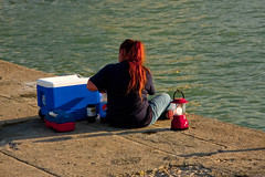 Michigan City Harbor Fishing Off the Pier 9-12-2016 8614 (www.cemillerphotography.com) Tags: lakefront lakemichigan sundown dusk nightfall washingtonpark recreation megawatt energy emissions indiana factory smokestack smoke