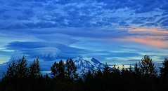 Mt. Rainier Blue Hour Lenticular (louelke - gone til Oct. 10) Tags: mtrainier lenticularclouds bluehour washingtonstate cascademountains volcano wow