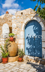 Amphora at the entrance (Ivanov Andrey) Tags: authentic entrance door amphora flower plant midday shadow blue stone wall wood architecture building bridge stage arch board city street area quarter walk travel sky cloud summer heat greece